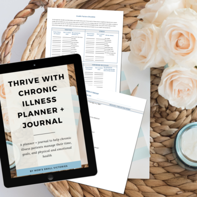 Thrive with Chronic Illness Planner and Journal to help chronic illness patients manage their goals, to do list and physical and emotional health